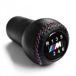 BMW Leather M Sport Tri Color ///M stitched Gear Shift Knob Stick 6 Speed Manual Transmission Shifter Lever