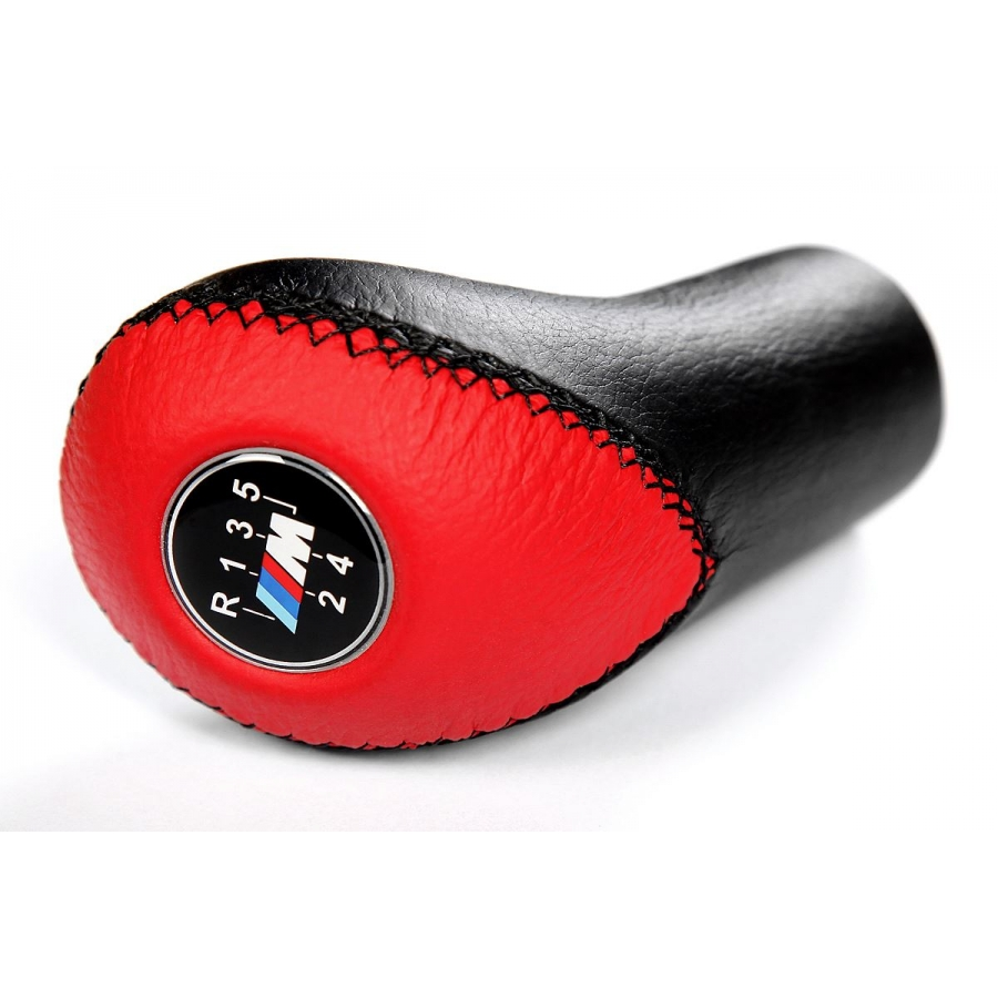 BMW M Sport Red/Black Leather Gear Shift Knob Stick 5 Speed Manual Transmission Shifter Lever