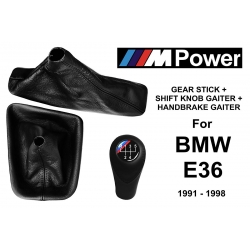 BMW E36 M Technic Leather Gear Shift Knob Stick 5 Speed Manual Transmission Shifter Lever + Handbrake + Gaiter Boot