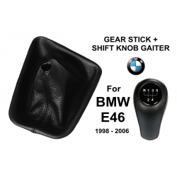 BMW E46 Leather Gear Shift Knob Stick 5 Speed Manual Transmission Shifter Lever & Gaiter Boot