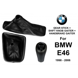 BMW E46 Leather Gear Shift Knob Stick 5 Speed Manual Transmission Shifter Lever + Handbrake + Gaiter Boot