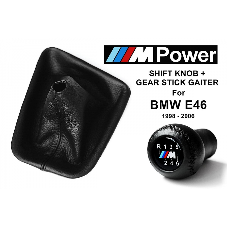 BMW E46 M Sport Leather Gear Shift Knob Stick 6 Speed Manual Transmission Shifter Lever & Gaiter Boot