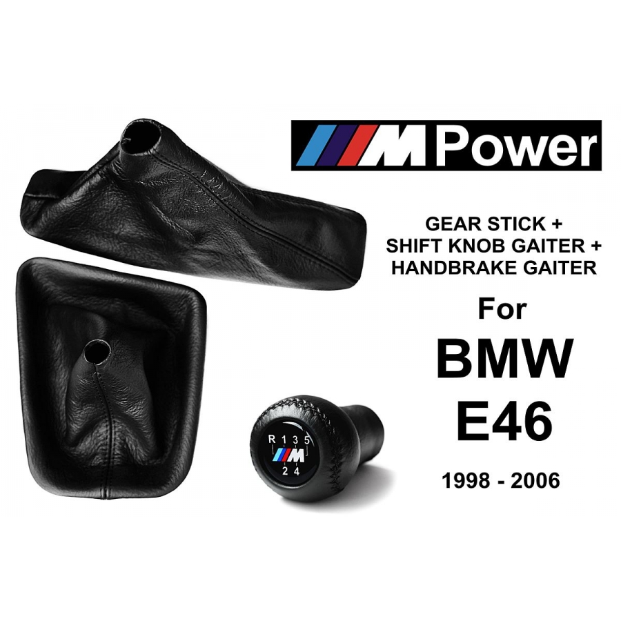 BMW E46 M Sport Leather Gear Shift Knob Stick 5 Speed Manual Transmission Shifter Lever + Handbrake + Gaiter Boot