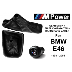 BMW E46 M Sport Leather Gear Shift Knob Stick 6 Speed Manual Transmission Shifter Lever + Handbrake + Gaiter Boot