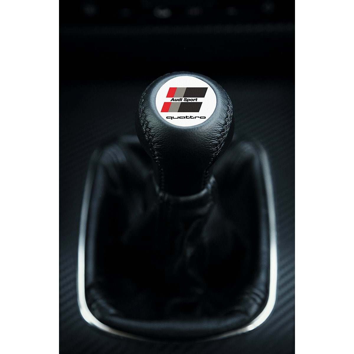 Premium Edition Gear Knob Knob Black Silver Leather 6-gear for Audi A3 S3 8L