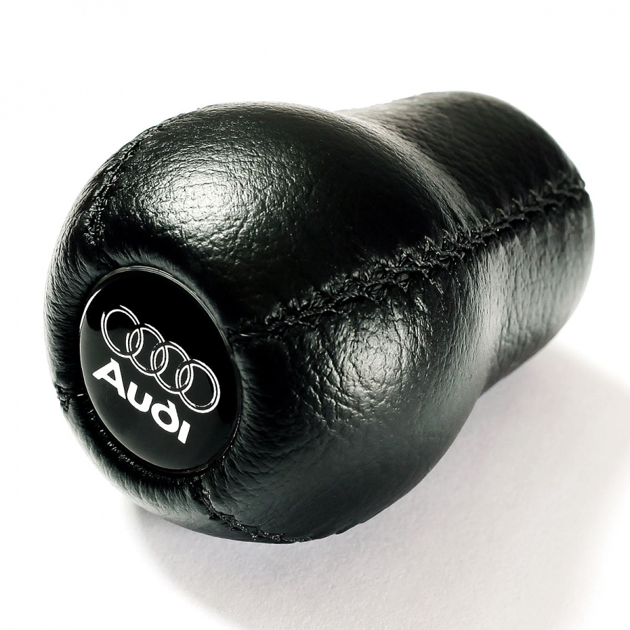 Audi Silver logo Leather Gear Shift Knob Stick 5/6 Speed Manual Transmission Shifter Lever Screw-On Type