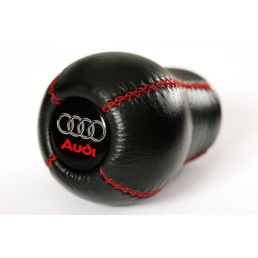 Audi Red Logo With Red Stitching Leather Gear Shift Knob Stick 5/6 Speed Manual Transmission Shifter Lever Screw-On Type