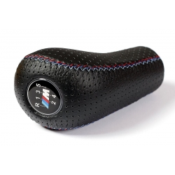 BMW Punched Leather M Sport Tri Color ///M stitched Gear Shift Knob Stick 5 Speed Manual Gearbox Shifter Lever