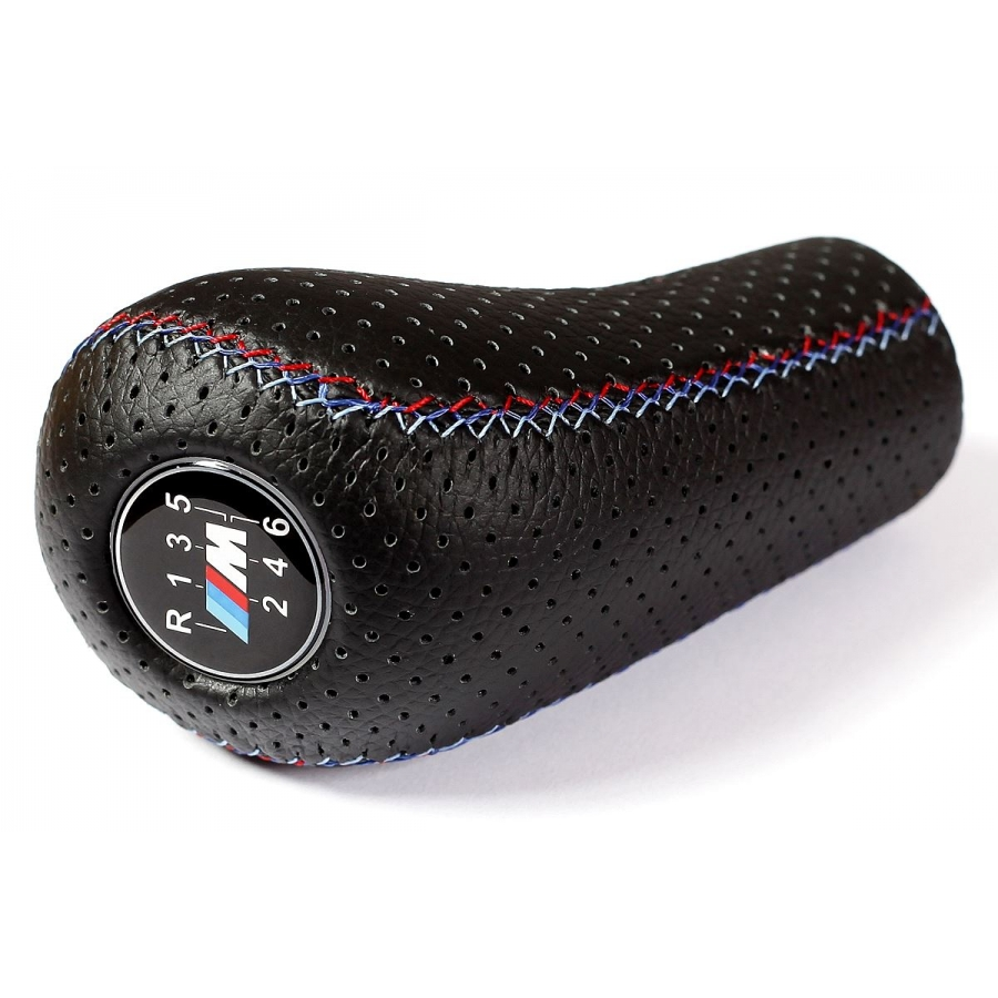 BMW Punched Leather M Sport Tri Color ///M stitched Gear Shift Knob Stick 6 Speed Manual Gearbox Shifter lever