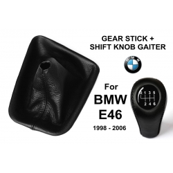 BMW E46 Leather Gear Shift Knob Stick 6 Speed Manual Transmission Shifter Lever & Gaiter Boot