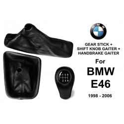 BMW E46 Leather Gear Shift Knob Stick 6 Speed Manual Transmission Shifter Lever + Handbrake + Gaiter Boot