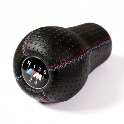 BMW Black Punched Leather M Technic Tri Color ///M stitched Shift Knob Stick 5 Speed Manual Gearbox Shifter Lever