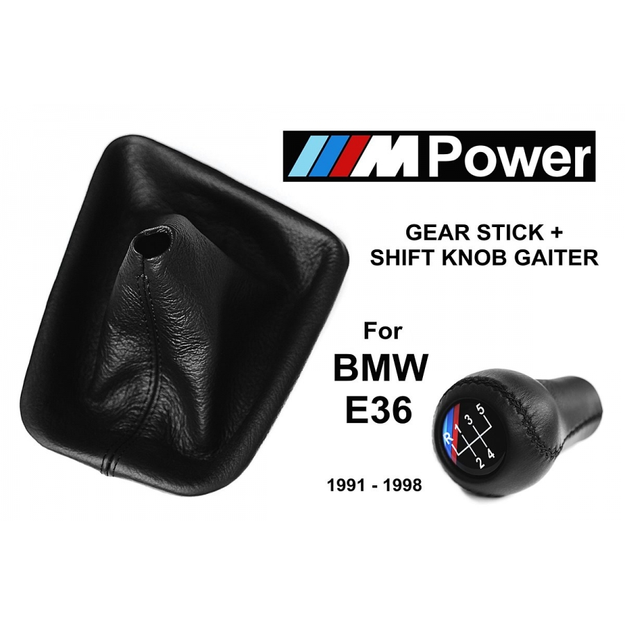 BMW E36 M Technic Leather Short Gear Shift Knob Stick 5 Speed Manual Transmission Shifter Lever & Gaiter Boot