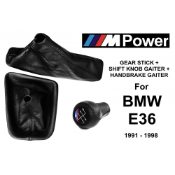 BMW E36 M Technic Leather Short Gear Shift Knob Stick 5 Speed Manual Transmission Shifter Lever + Handbrake + Gaiter Boot