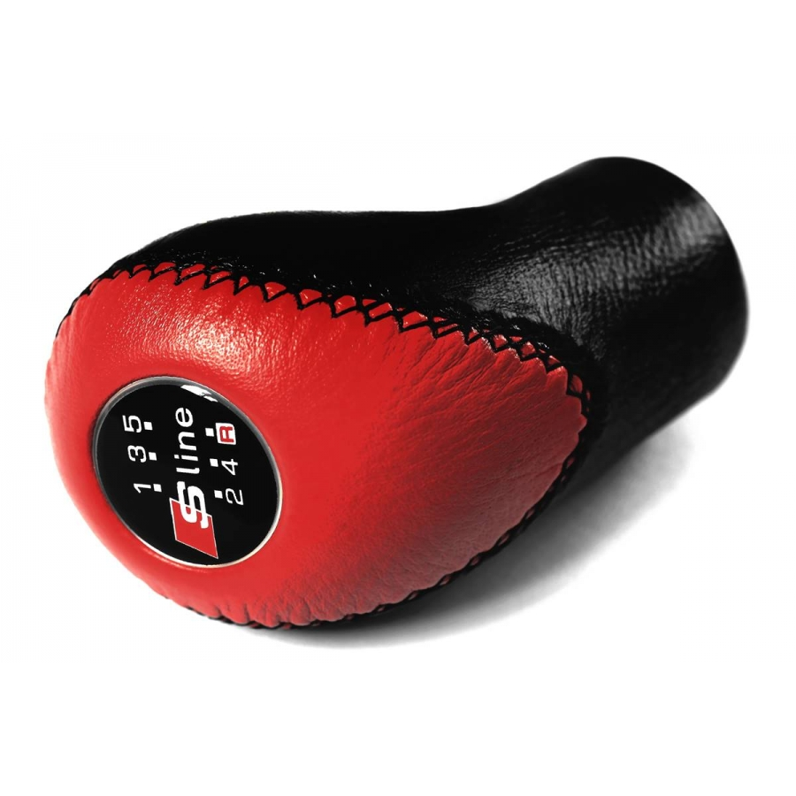 Audi S-Line Red/Black Leather Screw-On Type Gear Shift Knob Stick 5 Speed Manual Transmission Shifter Lever