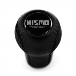 Nissan Nismo Old Logo Emblem Leather Screw-On Type Gear Shift Knob Stick 5/6 Speed Manual Transmission Shifter Lever M10xP1.25