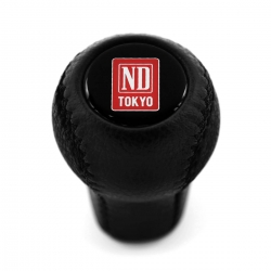 Mazda Nardi Tokyo Blue Logo Leather Screw-On Short Shift Knob Stick 5 6 Speed Manual Transmission Shifter Lever M10x1.25