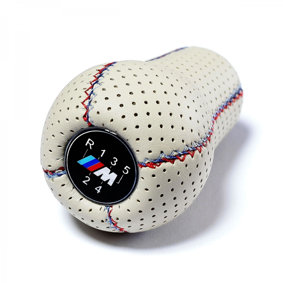 BMW White Punched Leather M Technic Tri Color ///M stitched Gear Shift Knob Stick 5 Speed Manual Transmission Shifter Lever