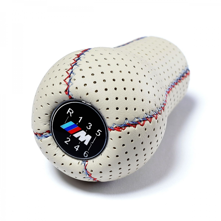 BMW White Punched Leather M Sport Tri Color ///M stitched Gear Shift Knob Stick 6 Speed Manual Gearbox Shifter Lever
